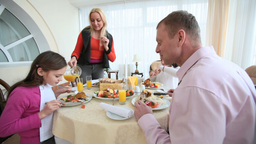 Family Eating Together stock footage
