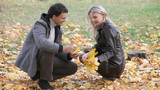 Couple In Autumn Park stock footage