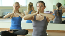 Two Females Doing Breathing Exercise Footage
