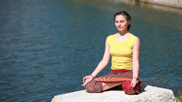 Young Woman Meditating Footage