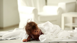 Little Girl Having Fun On Bed Footage