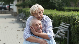 Seniors In Love stock footage