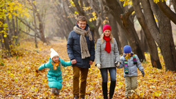 Family taking a walk in the autumn park having fun playing with leaves Footage