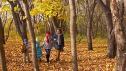 Family of four spending their sunny autumn weekend in the park Footage