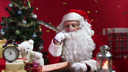 Santa Claus celebrating Christmas with confetti Animation