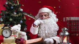 Santa Claus celebrating Christmas with confetti Animation