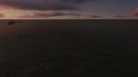Several helicopters fly over the sea at sunset Animation