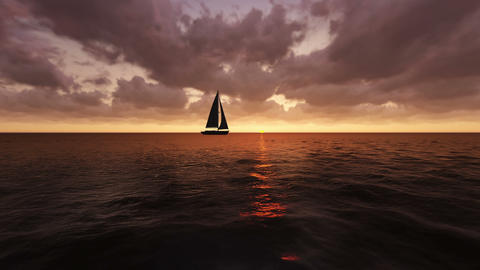 Sailboat rides at sunset over the sea on a calm se Animation