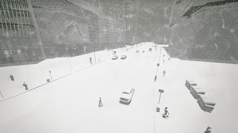 Blizzard in the city CG動画素材