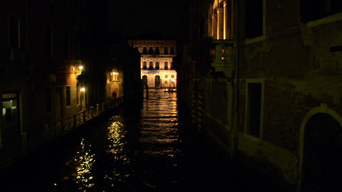 Canal Grande calle night 01 Footage