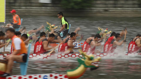 Dragon Boat Racing in Hong Kong Footage