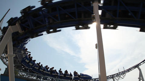 Silhouette Of Roller Coaster stock footage