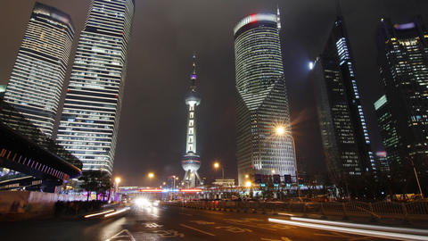 Shanghai landmark and city traffic at night Footage