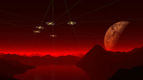 UFO, the moon and the red mist Animation