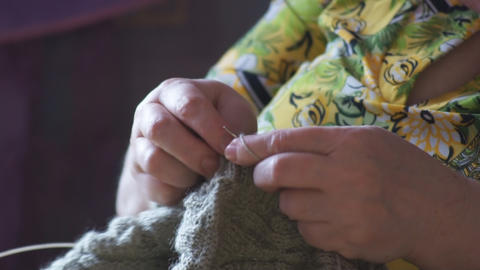 Woman hands knitting 01 Footage