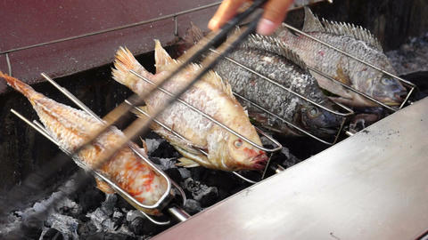 Outdoor Fish Barbecue stock footage