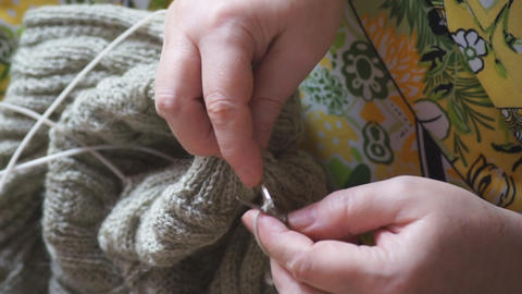 Woman hands knitting 03 Footage