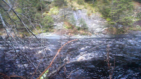 the mountain river with rapids Footage