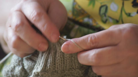 Woman hands knitting 04 Footage
