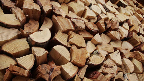 Panoramic Close-up Firewood Footage