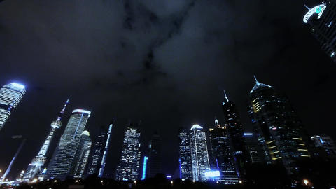 panoramic of urban skyscraper at night,shanghai pudong business center Animation