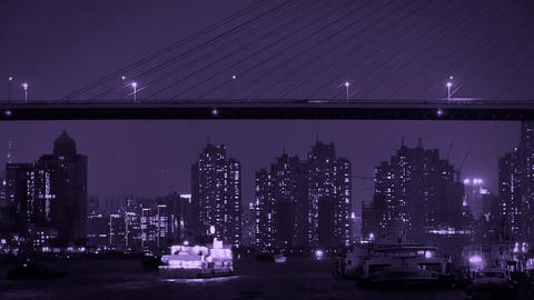 Brightly lit ships on river at night,across the sea bridge,urban modern building Animation