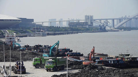 excavator working & dumper truck on construction site,shanghai pier & sh Animation
