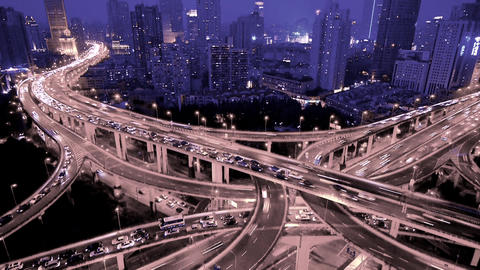 Time lapse,traffic lights trail & vehicles on Overpass interchange at night Animation