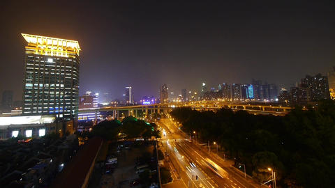 urban traffic at night,Brightly lit shanghai city Landscape Animation