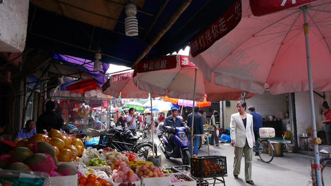 Typical Chinese old town street,shanghai shopping marketplace fruit Stand Animation
