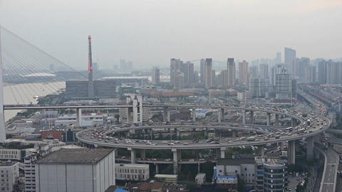 Aerial view of shanghai nanpu overpass traffic,serious pollution haze Animation