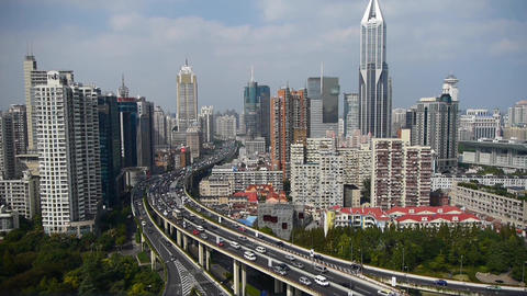 timelapse,heavy traffic on highway interchange,Shanghai business building Animation