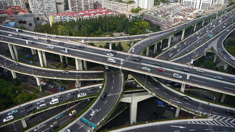 time lapse,Aerial View of freeway busy city rush hour heavy traffic jam highway Animation