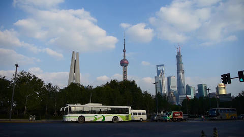 urban traffic with Shanghai lujiazui business building background Animation