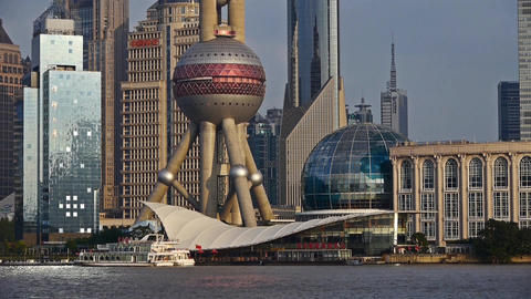 Shanghai Lujiazui economic center,modern busines building & huangpu river Animation
