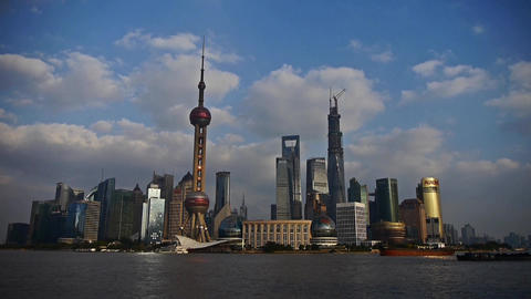 time lapse,busy ship sails through downtown Shanghai,Lujiazui economic building Animation