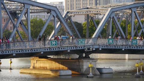 Shanghai bund traffic,waibaidu bridge,old style building,sunset Animation