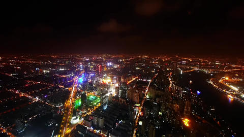 aerial view of high-rise buildings & urban traffic at night,China,timelapse Animation