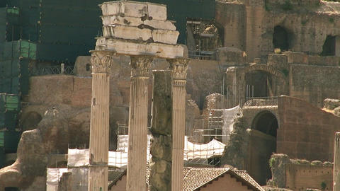 The Roman Forum surrounded by the ruins of several, Live Action