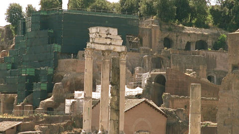The Roman Forum surrounded by the ruins of several Live Action