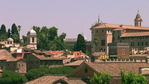 The Roman Forum surrounded by the ruins of several Footage