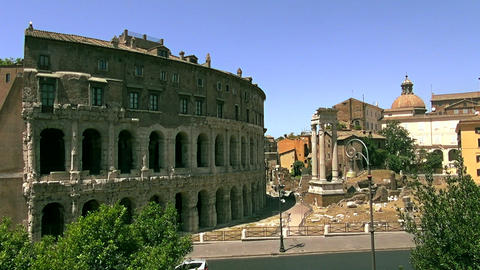 Ancient open-air theatre in Rome, Italy Footage
