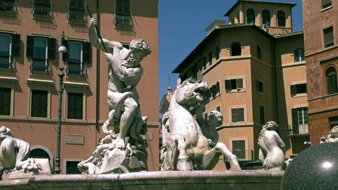 Piazza Navona in Rome, Italy Footage
