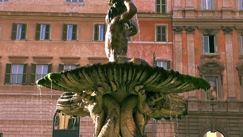 Famous Piazza and fountain Barberini in the city center of Rome, Italy Footage