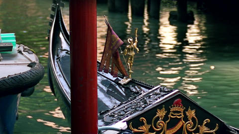 Golden detail of typical venetian gondola Footage