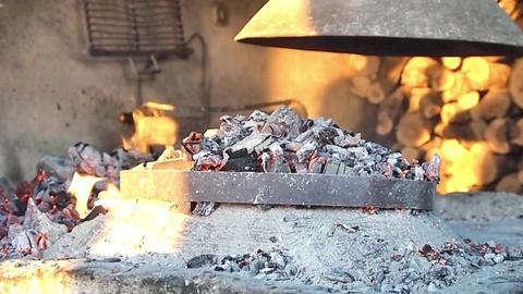 Man preparing fireplace Footage