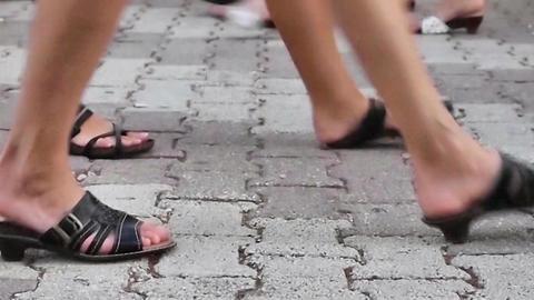 Walking on the street timelapse Footage