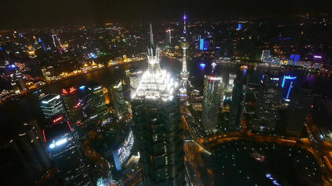 aerial view of skyscraper with river in Shanghai at night,China,timelapse Animation