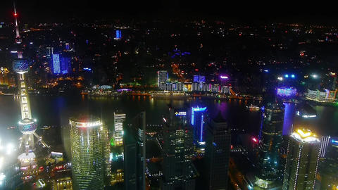 aerial view of highrise buildings with river at night,Oriental Pearl Tower Animation
