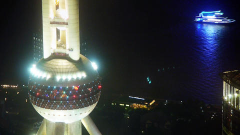 aerial view of shanghai Oriental Pearl Tower with river at night,china Animation